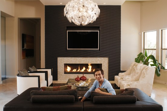 Contemporary Fireplace Designs with TV Above 553 x 369