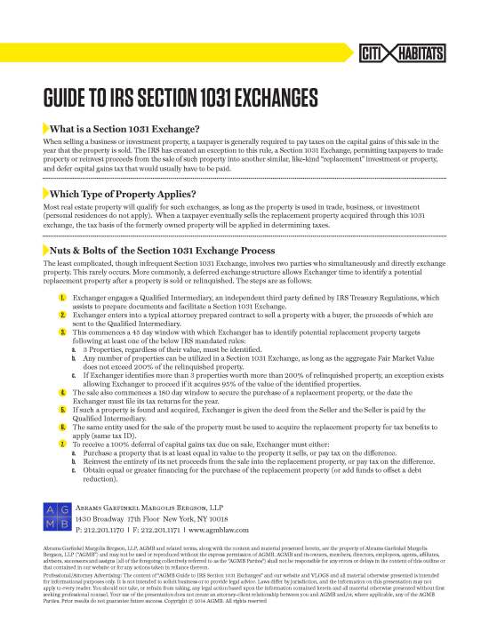 Guide to IRS Section 1031 Exchanges